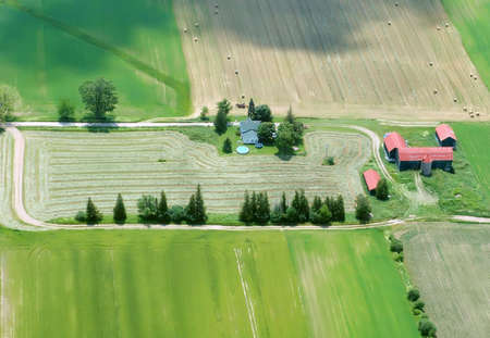 housing lot: Aerial view of a farming house, Ontario, Canada Stock Photo