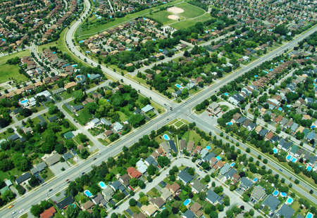 housing lot: Aerial view of residential area in typical suburb home community in Ontario, Canada Stock Photo