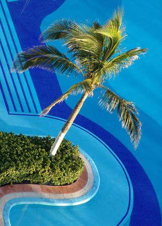 Luxury resort hotel swimming pool, Cancun, Mexico. Stock Photo