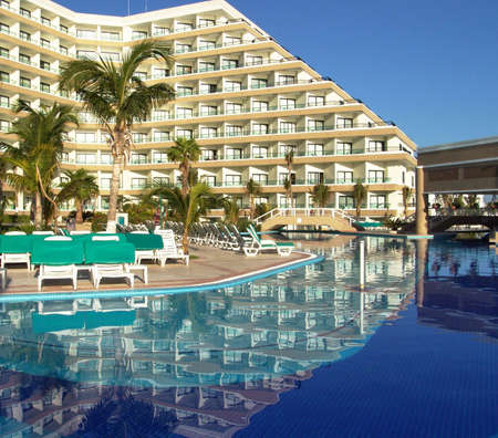 Luxury resort hotel with swimming pool, Cancun, Mexico. Editorial