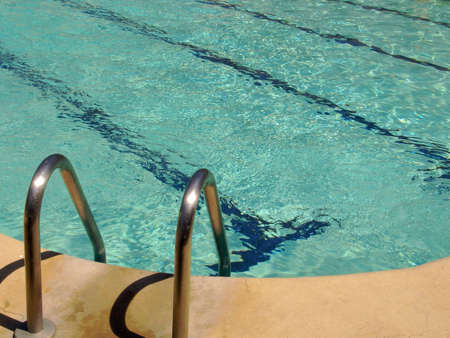 Swimming Pool with Turquoise Rippling Water Stock Photo