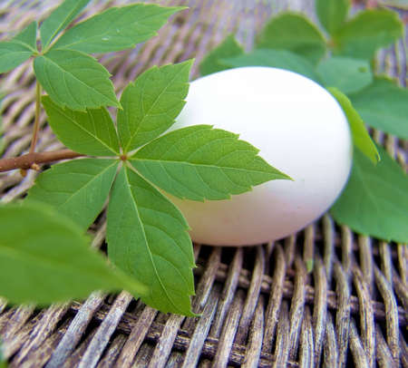 Unpainted white egg on wicker background