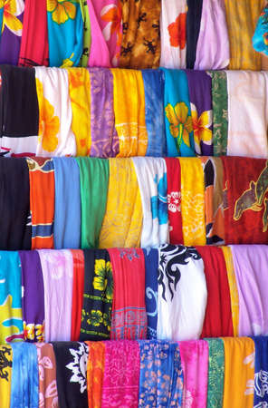 Colorful Mexican Textile in Marketplace. Taken in Cancun, Mexico. Stock Photo