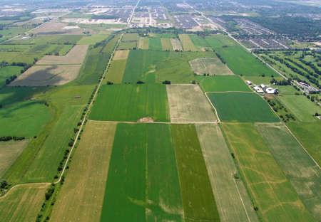 Aerial view of a farmland, Ontario, Canada