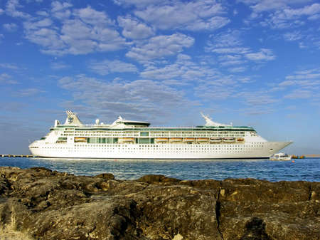 A cruise ship in the Caribbean seafront in Cozumel, Mexico Stock Photo