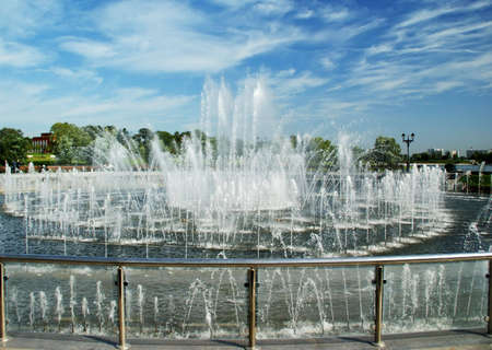 Fountain: splashing water. Day time, summer. Big Fountain in Tsaritsyno Park, Moscow. Russia