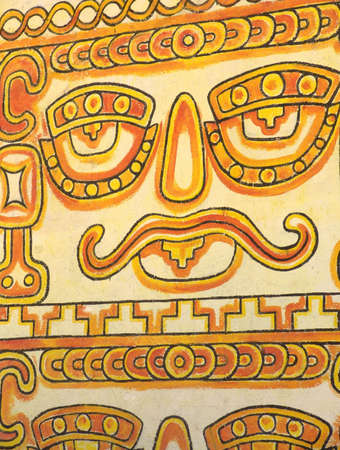Native painting on the wall. Mexican Mayan Indian local culture. Prehispanic design elements. Mexico.