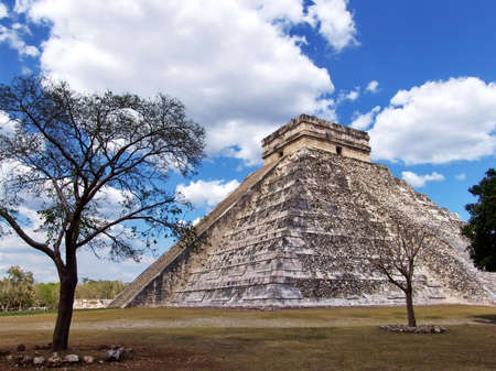Pyramid of Kukulkan at Chichen Itza. Mayan culture, Chichen Itza, Yucatan Peninsula, Mexico. Travel Destination. Stock Photo
