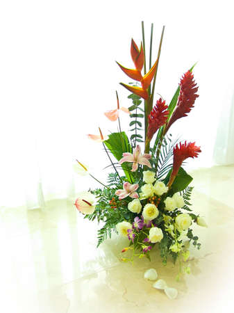 Big beautiful bouquet with roses and tropical flowers