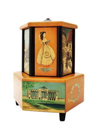 Unique old antique music box playing music. Vienna, Austria, XIX - beginning of XX century. Imagens