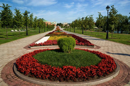 A beautiful flower bed in a formal garden. Moscow, the State Museum Reserve Park Tsaritsyno. Summer 2008