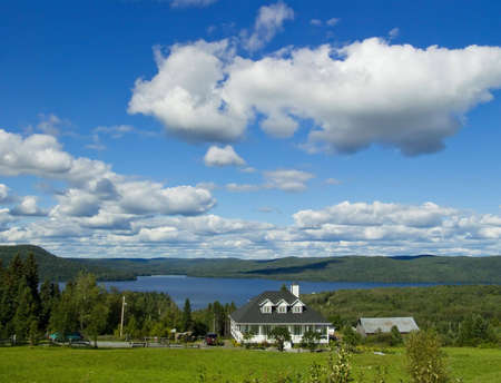Real Estate: Detached House on the lake. New Brunswick, Canada. Horizontal picture.