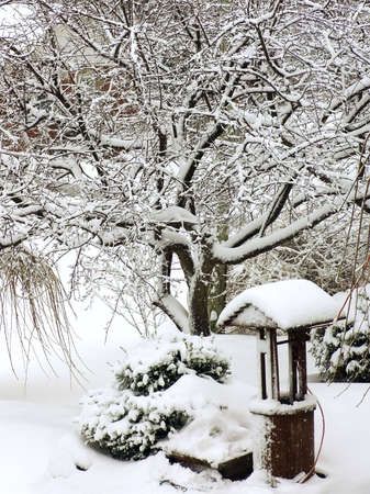 Wishing Well covered by snow. Winter time