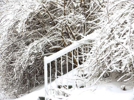 Stairs covered by snow after snow storm. Winter