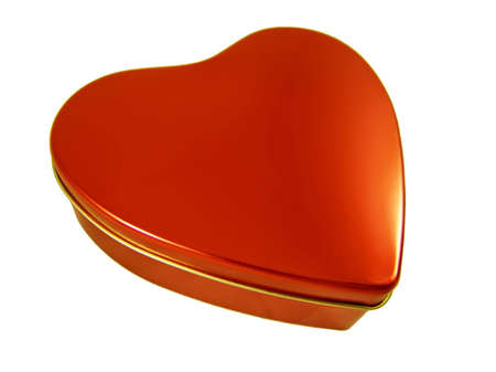 Red three-dimensional heart shape box isolated on white background. Good for Valentines Day greeting card. Stock Photo