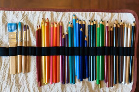 Bright colored pencils in a pencil case. Brown, pink, green, blue, sky blue, violet, orange, red, yellow. School supplies for children.