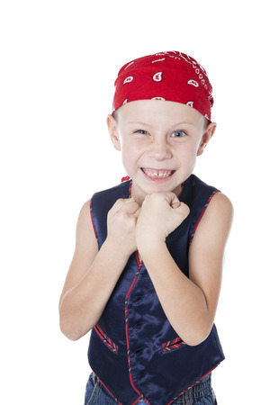boy in a bandanna on white background in studio photo