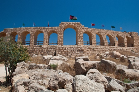 Ancient wall of the old city of Jerash in Jordan