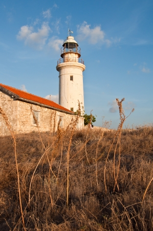 tallness: Abandoned old lighthouse of Paphos in Cyprus with blue sky and yellow field of grass Stock Photo