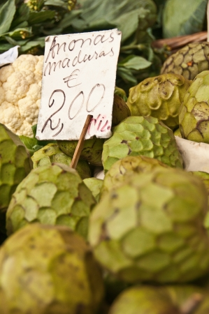 chirimoya: Cherimola fruits on sale Stock Photo