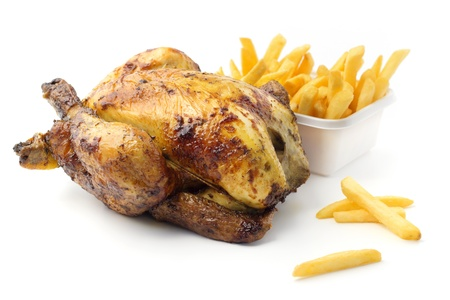 fried chicken: roast chicken with chips Stock Photo