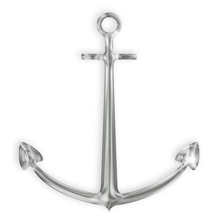 ancre marine: acier ancre d'argent sur fond blanc