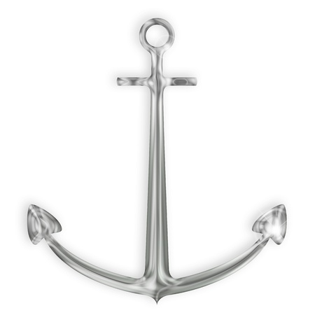 steel silver anchor on white background photo