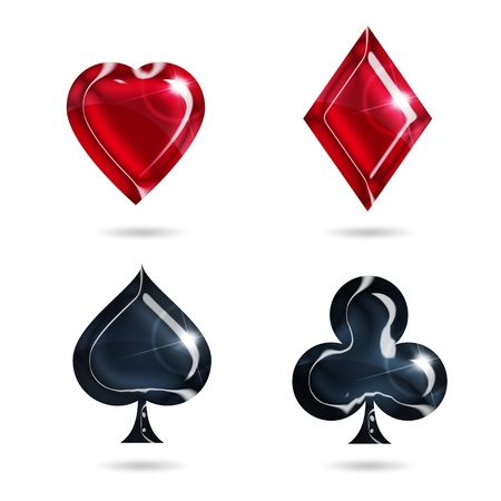 card suits: aces of hearts, diamonds, spades, clubs on white background Stock Photo