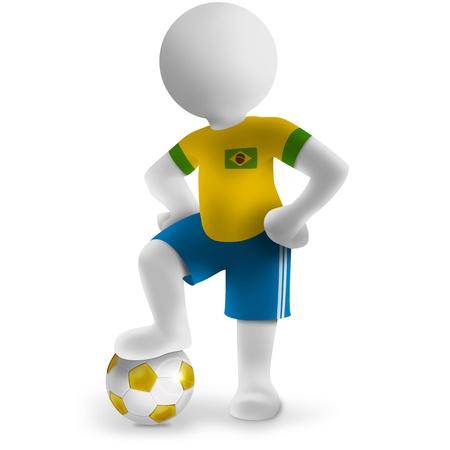 3d Braziliaanse voetballer met voet bal