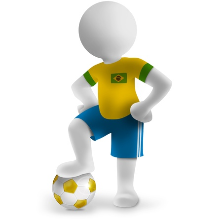 3d brazilian football player with soccer ball photo
