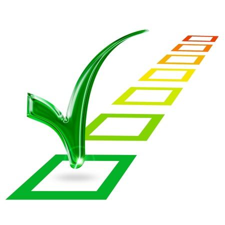 marca de verificación en la clase europea categoría de energía verde