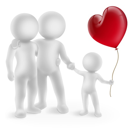 illustration of a couple with child and red balloon