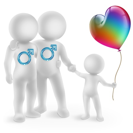 paternity:  illustration of a gay couple with adopted child Stock Photo