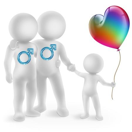 homosexuales: ilustración de una pareja gay con un niño adoptado