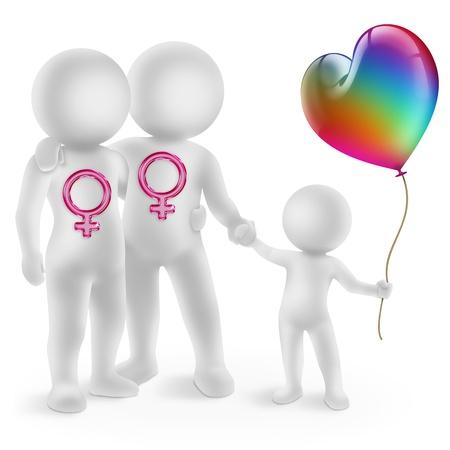 illustratie van een lesbisch paar met geadopteerde kind