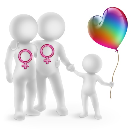 sexualidad: ilustración de una pareja de lesbianas con niños adoptados Foto de archivo