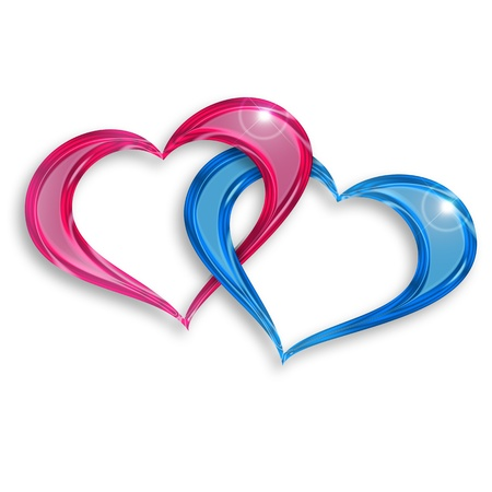 entwined: pink and blue hearts entwined on white background