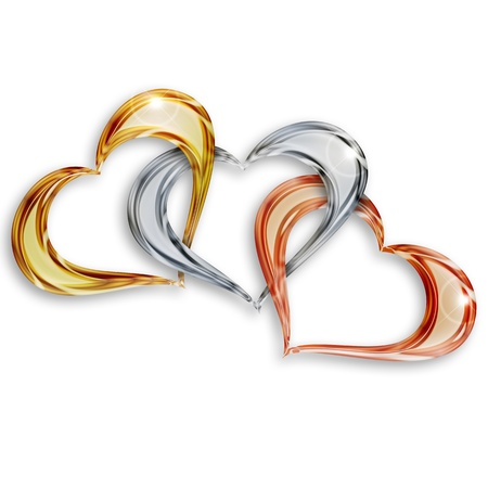 entwined: gold, silver and bronze hearts entwined on white background Stock Photo