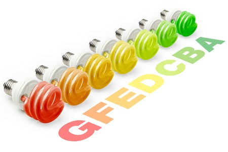 set of helical lamps with colors of the energy efficiency categories photo