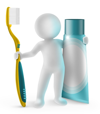 3d small man with toothbrush and toothpaste photo