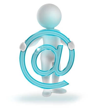email contact: 3d man holding glossy email symbol