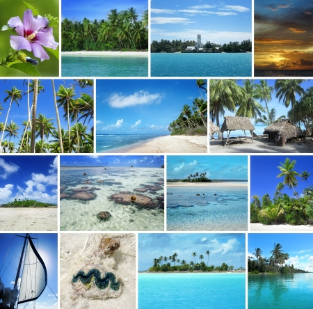 unspoiled: set of unspoiled tropical islands and seascape Stock Photo