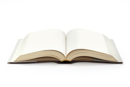 open plan: close up of open textbook with blank pages