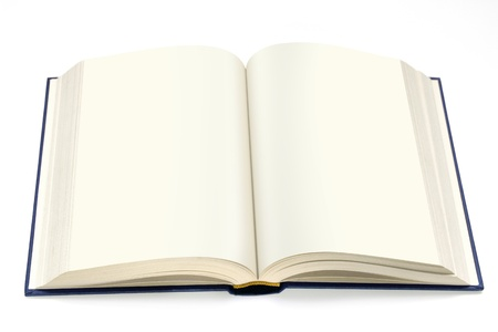 book jacket: isolated hardcover book  open with white pages
