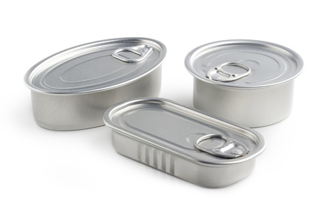 canned goods: closed tin cans isolated on white background