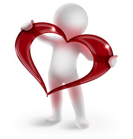 3d man met een glanzend rood hart op witte achtergrond