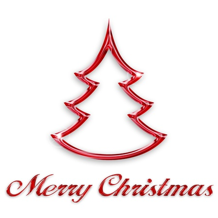 glossy red christmas tree on white background Stock Photo - 15913599