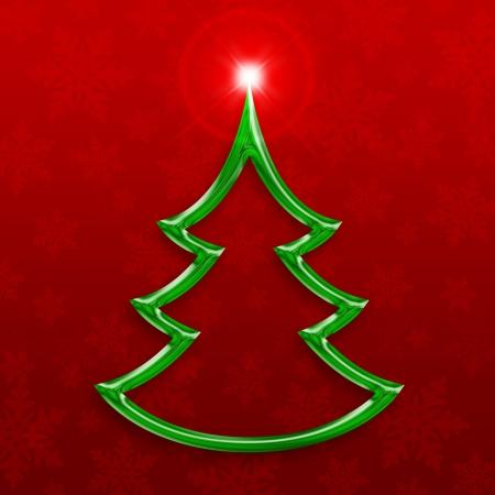 stylized green christmas tree on decorative background Stock Photo - 15913602