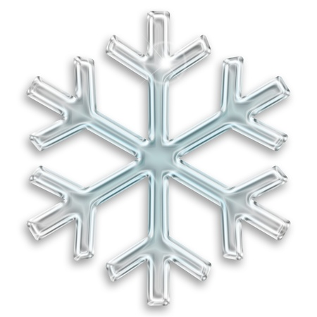 snow crystals: iced snowflake illustration isolated on white background