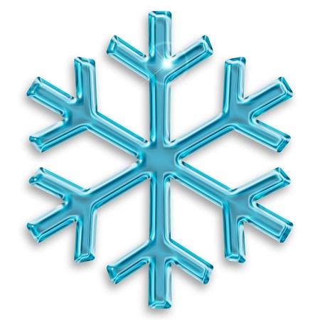 glassy  blue snowflake isolated on white background Stock Photo - 15913623
